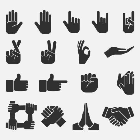 Hand icon set isolated on white background. Vector illustration. Eps 10. Ilustrace