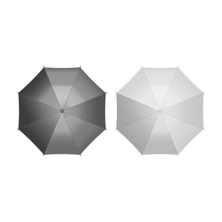 Set of umbrella top view isolated on white background. Vector illustration. Eps 10.