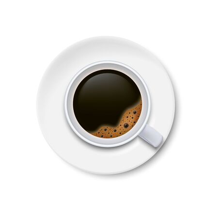 A cup of black coffee and saucer top view isolated on white background. Ilustração