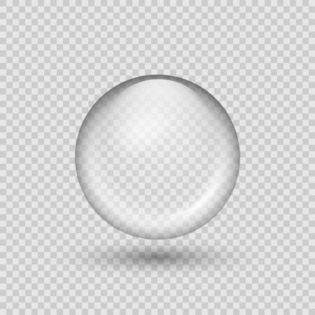 Translucent sphere with shadow on transparent background. Vector illustration. Eps 10.