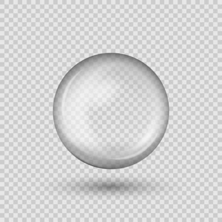 Translucent sphere with shadow on transparent background. Vector Illustratie