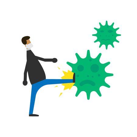 Fight covid-19 corona virus isolated on white background.