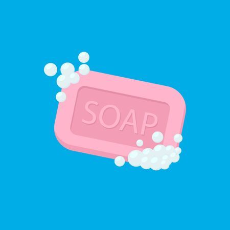 Bar of soap with foam isolated on white background. Vector illustration. Eps 10.