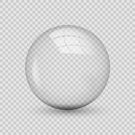 Translucent sphere with shadow on transparent background.