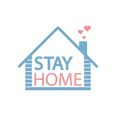 Stay at home concept isolated on white background.