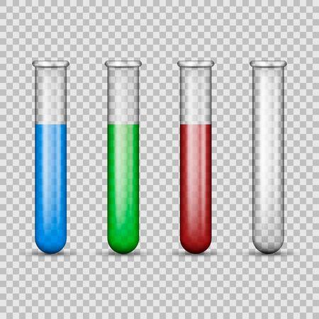 Medical glass tube set isolated on transparent background. Vector illustration. Eps 10. Ilustração