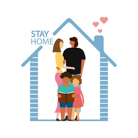 Stay at home concept isolated on white background. Vector illustration. Eps 10.