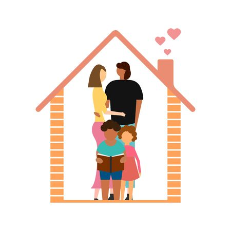 Dad, mother, son, daughter under the roof of the house isolated on white background. Vector illustration. Eps 10.