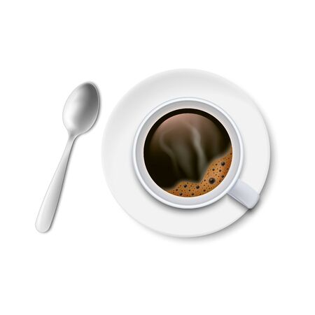A cup of black coffee with spoon and saucer top view isolated on white background. Vector illustration. Eps 10.