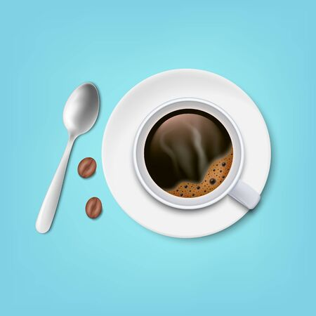 A cup of black coffee with spoon and saucer and coffee beans top view isolated on white background. Vector illustration. Eps 10.
