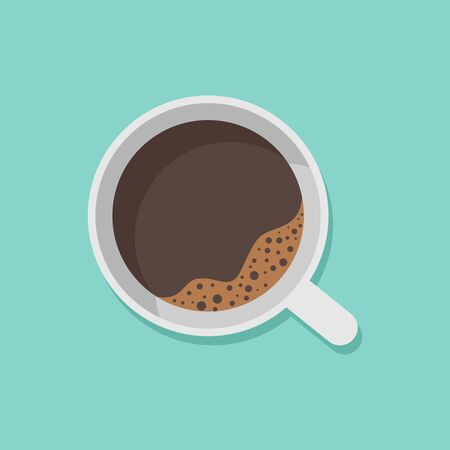 A cup of black coffee top view isolated on white background. Vector illustration. Eps 10. Ilustração