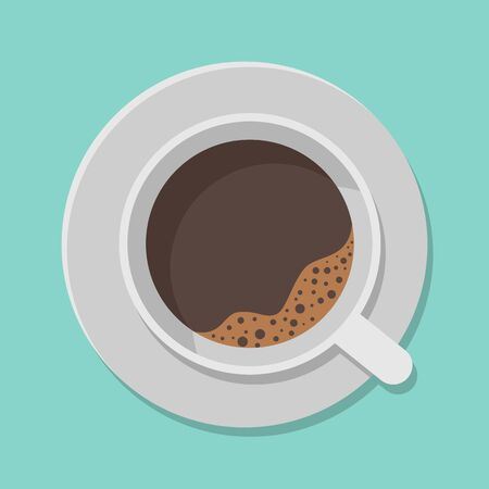 A cup of black coffee and saucer top view isolated on white background. Vector illustration. Eps 10. Ilustração