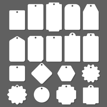 Blank white paper price tags or gift tags in different shapes. Blank labels template. Price tags set. Imagens - 148316743