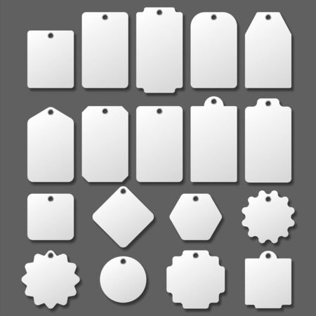 Blank white paper price tags or gift tags in different shapes. Blank labels template. Price tags set. Vector illustration. Eps 10.