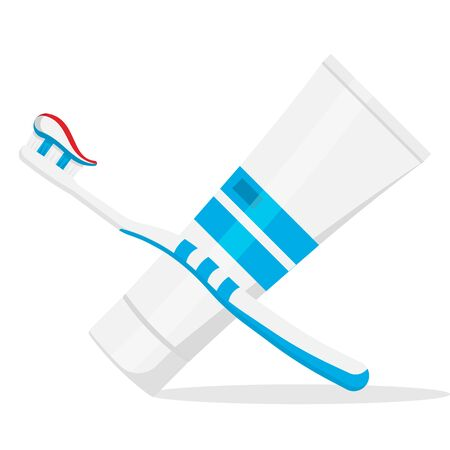 Toothbrush and toothpaste isolated on white background. Vector illustration. Eps 10. Imagens - 148094742