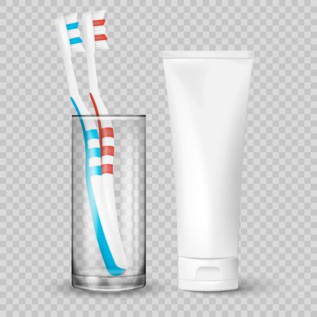 Realistic pair of toothbrushes in a glass with tube of toothpaste isolated on background. Vector illustration. Eps 10.