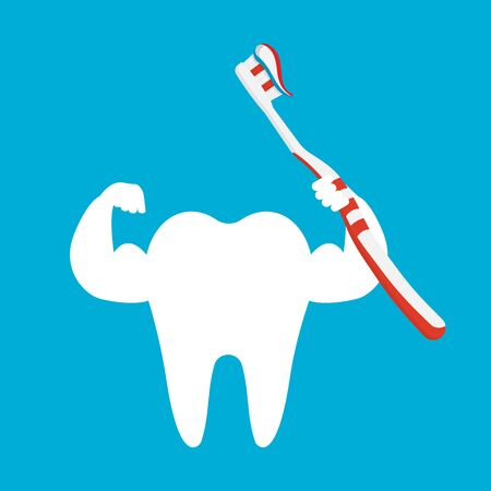 Tooth holding giant toothbrush and brushing isolated on background. Vector illustration. Eps 10.