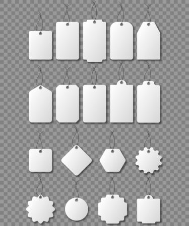 Blank white paper price tags or gift tags in different shapes. Blank labels template. Price tags set. Vector illustration. Eps 10. Imagens - 148096215