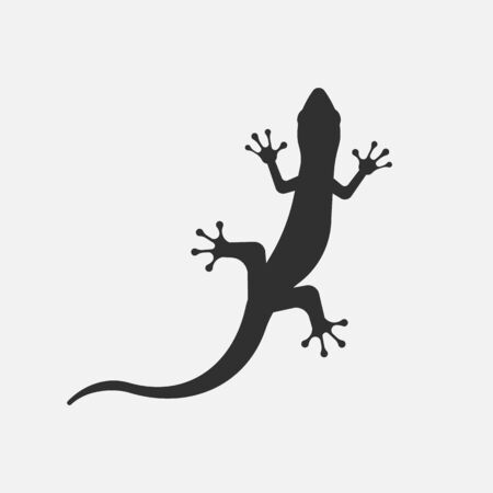 Black silhouette of lizard isolated on white background.