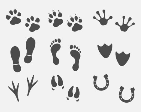 Black Different Animal and Bird Silhouettes Tracks Set isolated on white background. Vector illustration. Eps 10. Illustration
