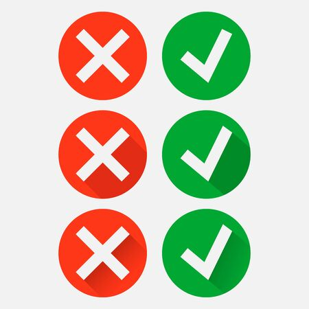 Tick and cross signs. Green checkmark OK and red X icon isolated on white background. Vector illustration. Eps 10. Imagens - 148096855