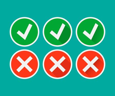 Tick and cross signs. Green checkmark OK and red X icon isolated on white background. Vector illustration. Eps 10.
