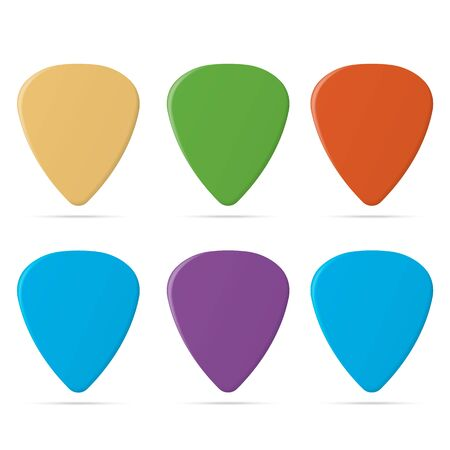 Set of guitar pick isolated on white background. Vector illustration. Eps 10.
