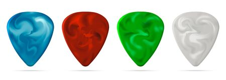 Set of guitar pick isolated on white background. Vector illustration. Eps 10.