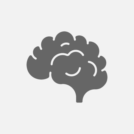 Brain icon isolated on white background. Vector illustration. Eps 10.