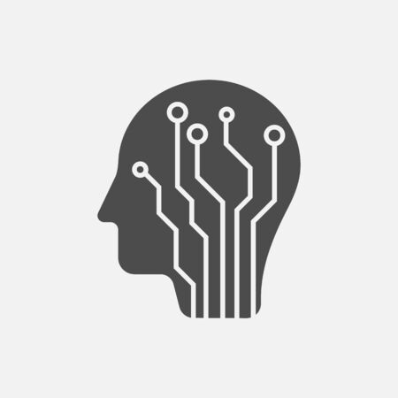 Human head with circuit board icon isolated on white background. Vector illustration. Eps 10. Ilustração