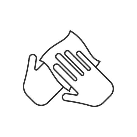 Hand with cleaning napkin line icon. Imagens - 154396063