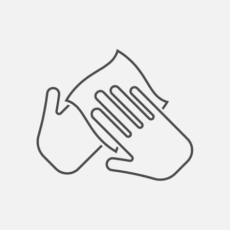Hand with cleaning napkin line icon. Imagens - 154396067