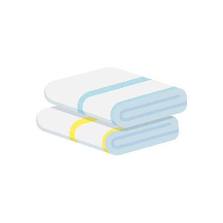 Stack of folded towels isolated on white background.