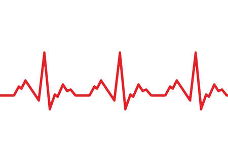 Heart cardiogram line isolated on white background. Vecteurs
