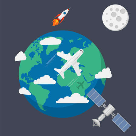 Earth in space isolated on background. Vector illustration. Eps 10.