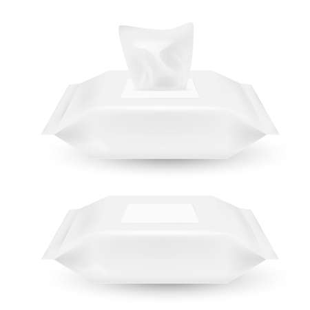 White open and closed plastic wrap for wet wipes isolated on white background. Vector illustration. Eps 10.