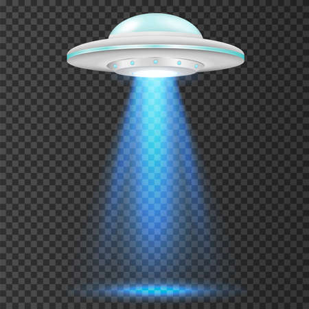 UFO - alien spaceship with blue lights. isolated on background. Vector illustration. Eps 10.
