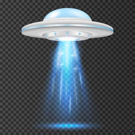 UFO - alien spaceship with blue lights. isolated on background. Vector illustration. Eps 10. Ilustração