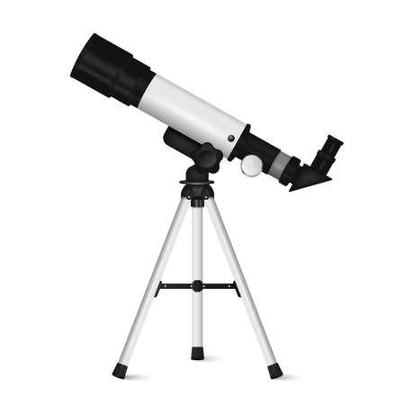 Realistic telescope isolated on white background. Vector illustration. Eps 10. Ilustração