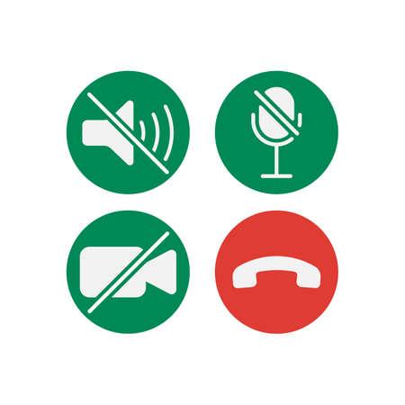 Video cal icons set isolated on white background. Vector illustration. Eps 10. Ilustração