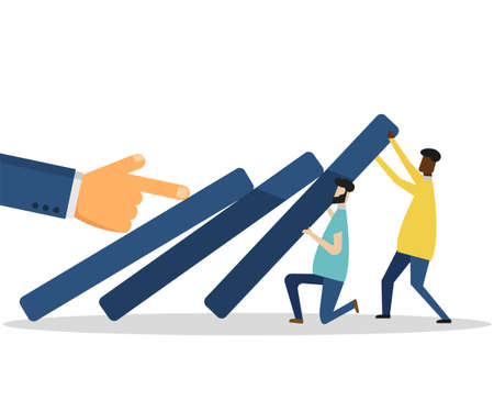 Business team try to stop falling graph. Vector illustration. Eps 10.