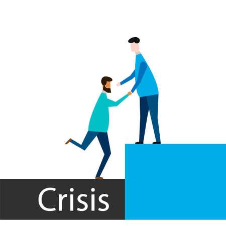 Businessman Help Teammate to Overcome Crisis Situation. Teamwork Leadership Concept. Vector illustration. Eps 10.