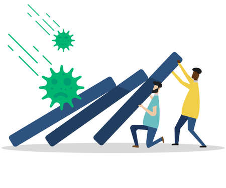 businessmans leader help pushing bar graph falling in economic collapse from COVID-19 virus pathogen. Vector illustration.