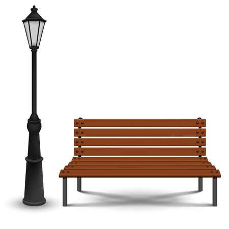 Bench and streetlight isolated on white background. Vector illustration. Eps 10. Ilustração