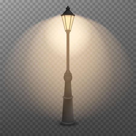 old street luminous lantern isolated on transparent background. Vector illustration. Eps 10.