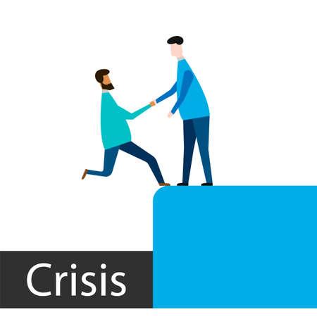 Businessman Help Teammate to Overcome Crisis Situation. Teamwork Leadership Concept. Vector illustration.