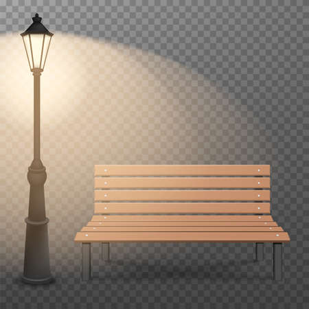 Bench and streetlight isolated on transparent background. Vector illustration. Eps 10.