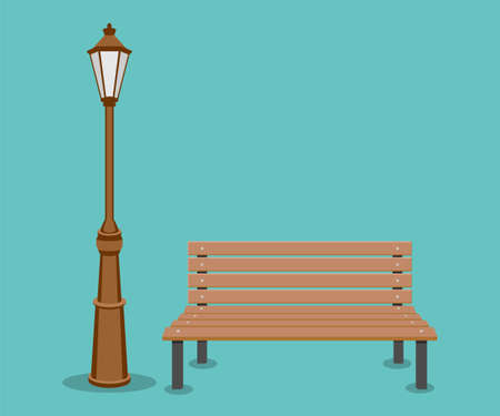 Bench and streetlight isolated on background. Vector illustration. Eps 10.