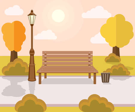Bench and streetlight in the park. Vector illustration. Eps 10.