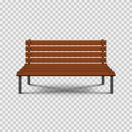 Park wooden bench isolated on transparent background. Vector illustration.